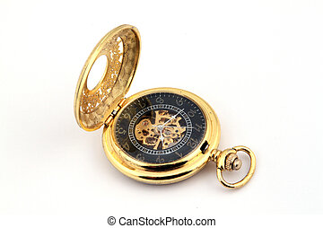 Gold pocket watch on a white background.