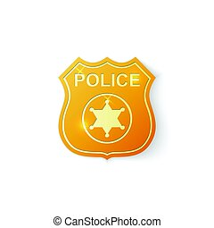 Gold Police badge icon on white background. Vector Illustration