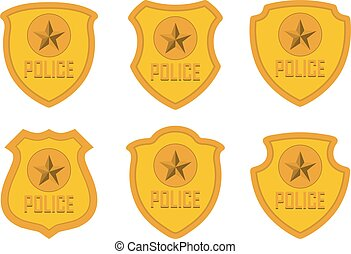 Gold Police Badge set isolated on white background