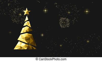 gold, poly, video, niedrig, jahr, neu , weihnachtskarte