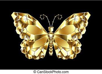 Gold polygonal butterfly