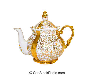 Gold porcelain teapot from old antique service on a white