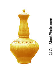gold pottery on a white background