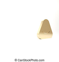 Gold Pouf icon isolated on white background. Soft chair. Bag for the seat. Comfortable furniture armchair. 3d illustration 3D render.