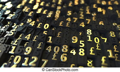 Gold Pound Sterling GBP symbols and numbers on black plates,...