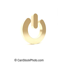 Gold Power button icon isolated on white background. Start sign. 3d illustration 3D render