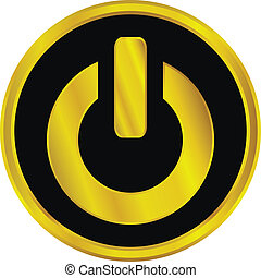Gold power sign button