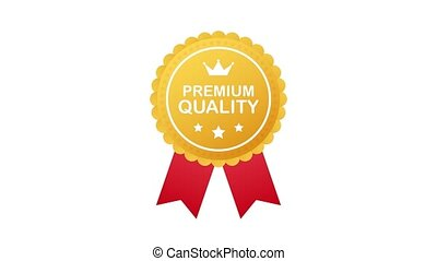 Gold premium quality rosette with red ribbon on white background. Motion graphics