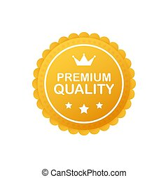 Gold premium quality rosette with red ribbon on white background. Vector illustration.