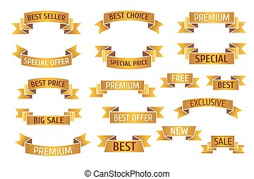 Gold premium sales vector banners set
