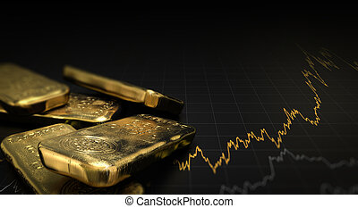 Gold Price, Commodities Investment - 3D illustration of gold...