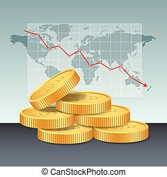 Gold price concept. Golden coins price falling down graph and chart with world map background.