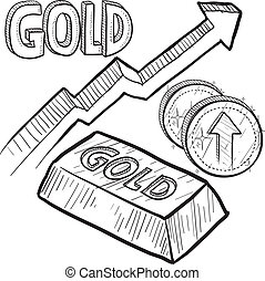 Doodle style Gold precious metal value symbol with up arrow indicating increasing price or inflation. Vector file includes arrow, title, coin symbol with up arrow, and ingot with title.