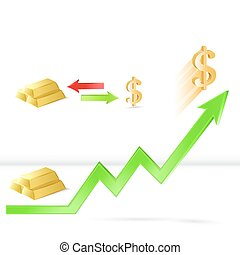 Gold price up concept