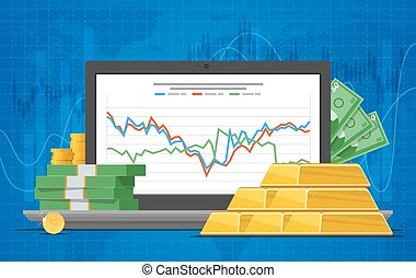 Gold price vector illustration in flat style. Stock chart on laptop screen.