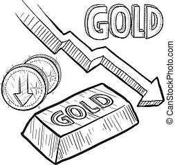Gold prices down sketch