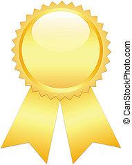 Gold prize ribbon on white
