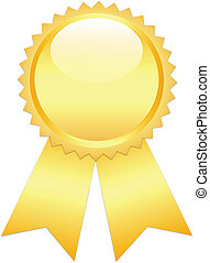 Gold prize ribbon on white