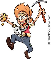 Gold prospector - Old cartoon prospector. Vector clip art...