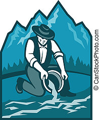Gold Prospector Miner Pan Retro - Illustration of a gold...