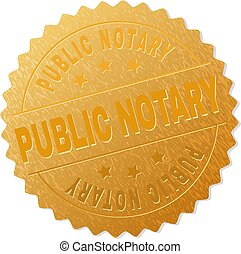 Gold PUBLIC NOTARY Badge Stamp