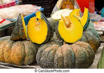 Gold pumpkin on Thailand market.