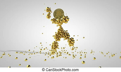 Gold puppet with Bitcoin head dancing, gold spheres falling, against white