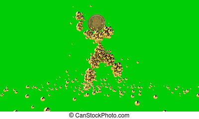Gold puppet with Bitcoin head dancing, gold spheres falling, Green Screen