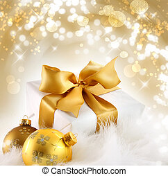 Gold r gift with holiday background - Gold ribbon gift with...