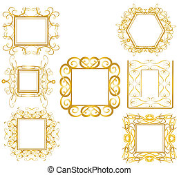 gold, rahmen, 1