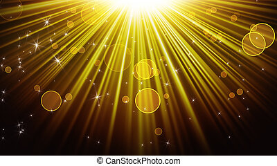 gold rays of light and shining stars abstract background - ...