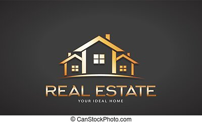 Gold Real Estate Houses Logo. Vector Design
