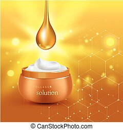 Gold realistic cosmetic tube poster with collagen solution cream or essence on background vector illustration
