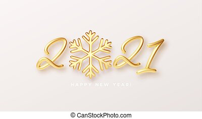 Gold realistic metallic text 2021 with golden snowflake. Vector illustration