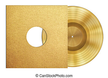gold record music disc award in sleeve isolated - gold...