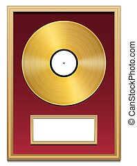 Gold Record Plaque Blank Frame - Gold record with blank...