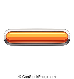 Gold rectangular button icon, cartoon style