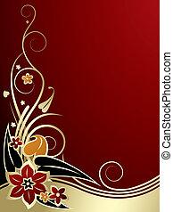 gold-red, klassisch, hintergrund