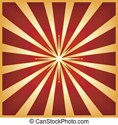 Gold red star burst with centre star - Square starburst in...
