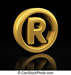 Registered trademark gold symbol on a black background with reflection