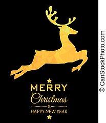 gold reindeer Christmas card