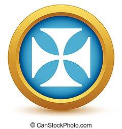 Gold religion cross icon