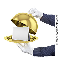 Gold restaurant cloche with open lid. 3d illustration.