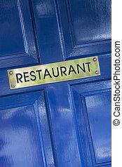 Restaurant Sign on Blue Door
