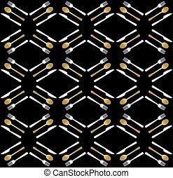 Gold restaurant utensil icons seamless pattern