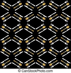 Gold restaurant utensil icons seamless pattern