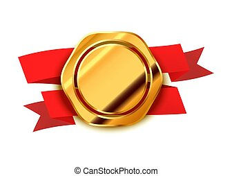 Gold retro label, luxury badge with red tape on white