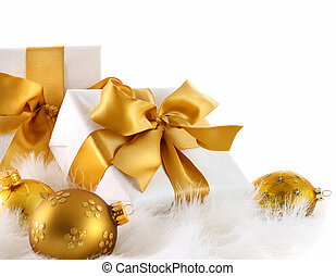 Gold ri gifts with Christmas balls