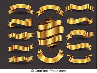Gold ribbon banners collection.