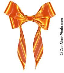 Gold ribbon bow on white background